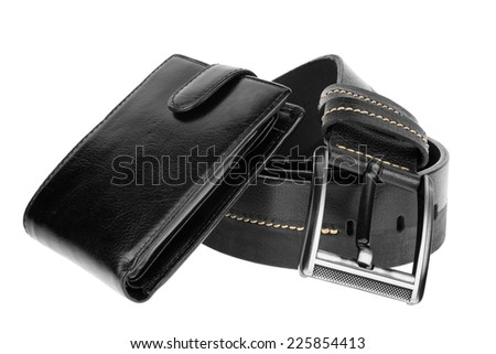 Mens wallet and  belt , isolated on white background - stock photo