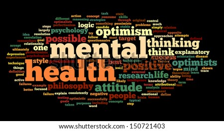 Mental health concept in word tag cloud on black - stock photo