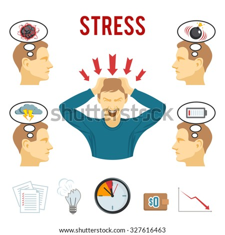 Mental health disorders and work related stress anxiety and depression symptoms icons set abstract isolated  illustration - stock photo