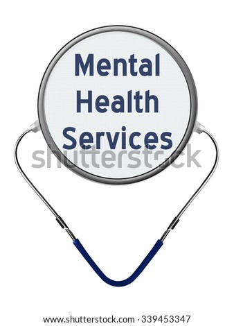 Mental Health Services medical concept and stethoscope - stock photo