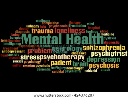 Mental health, word cloud concept on balck background.   - stock photo