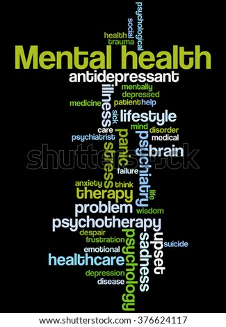Mental health, word cloud concept on black background. - stock photo