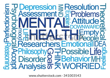 Mental Health Word Cloud on White Background - stock photo