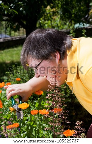 mentally disabled woman cut flowers in the garden - stock photo