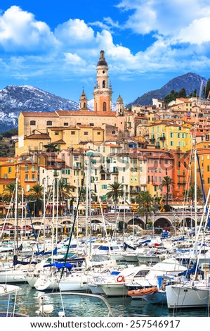 Menton - beautiful costal town in south of France - stock photo