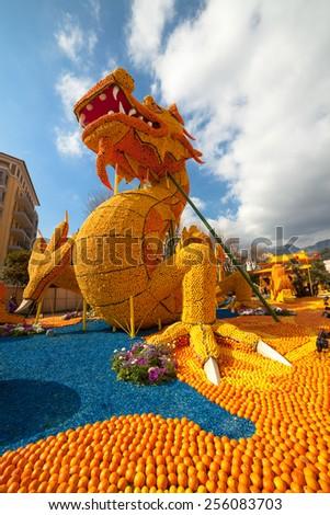 MENTON, FRANCE - FEBRUARY 20: Lemon Festival (Fete du Citron) on the French Riviera.The theme for 2015: Tribulations of a lemon in China. Menton, France - Feb 20, 2015 - stock photo