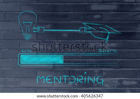 mentoring: graduation caps & lightbulb connected by plug with progress bar, concept of sharing ideas and expertise - stock photo