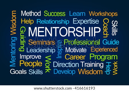 Mentorship Word Cloud on Blue Background - stock photo