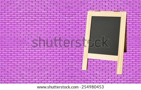 Menu blackboard on wall Purple Brick background - stock photo