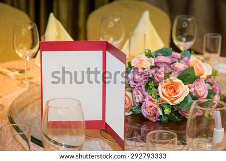 Menu on Table in Banquets - stock photo