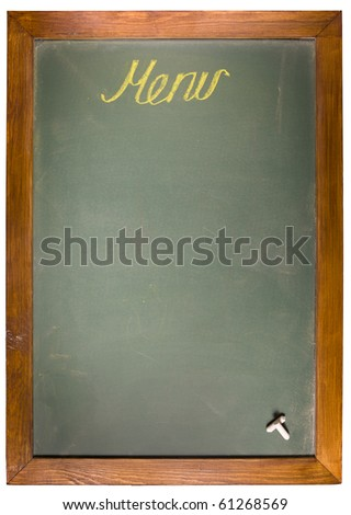 Menu text on greeen blackboard and copy space - stock photo