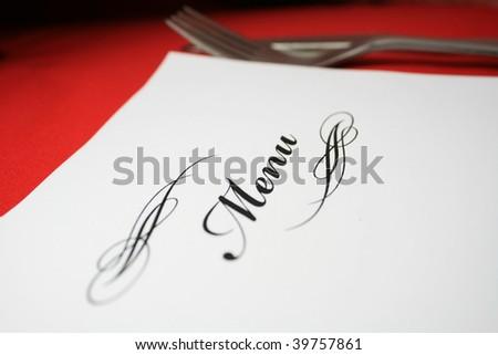 Menu with silverware - stock photo
