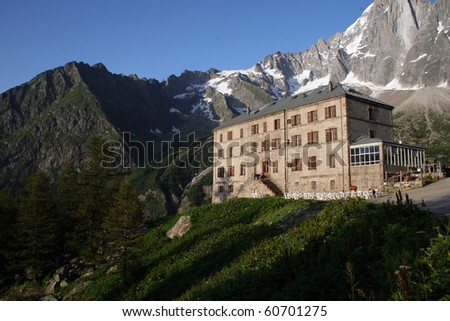 Mer de Glace Hotel in the French Alps - stock photo