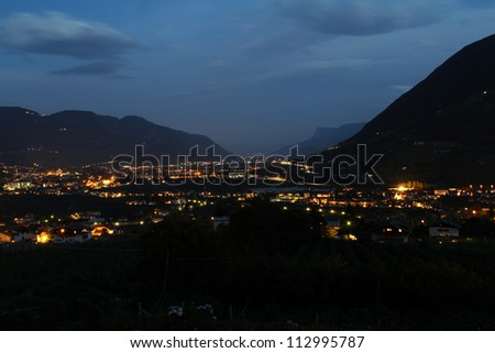 meran at night - stock photo