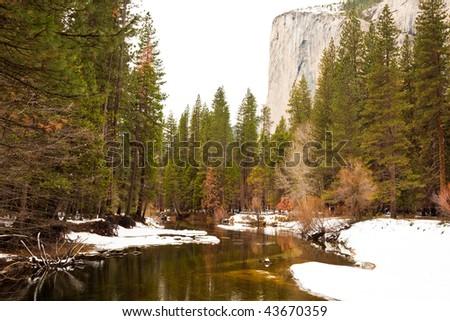 Merced River and El Capitan in Yosemite National Park, California. - stock photo