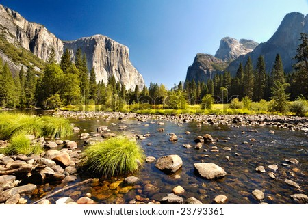 Merced River at Yosemite National Park - stock photo