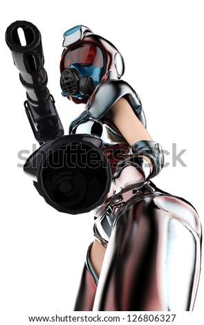 mercenary girl pointing down - stock photo