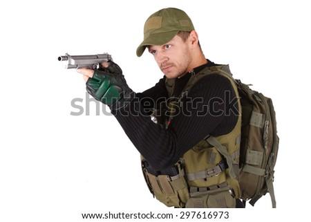 mercenary with handgun isolated on white - stock photo