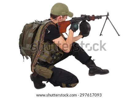 mercenary with RPG gun isolated on white - stock photo