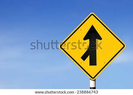 Merge road sign on sky background. - stock photo