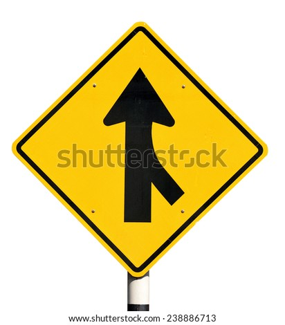 Merge road sign on white background. - stock photo