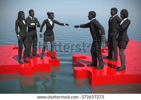 Merger of two teams on a jigsaw puzzle at the sea. Two teams of successful executives merging on a jigsaw puzzle at the sea showing a partnership. - stock photo