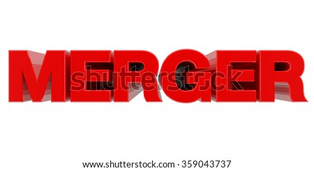 MERGER word on white background 3d rendering - stock photo
