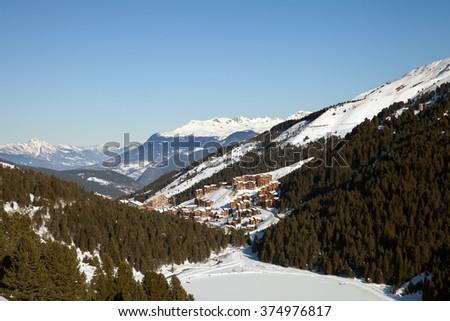 """Meribel valley in ski resort """"3 Valleys"""", France - stock photo"""
