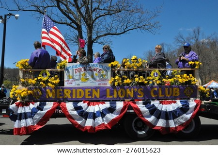 MERIDEN, CT - APR 25: Parade at the 37th Annual Daffodil Festival in Meriden, Connecticut, on April 25, 2015. Each year, the festival involves 300 volunteers, and 3,000 people march in its parade. - stock photo