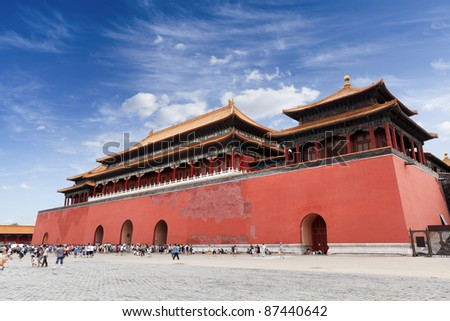 meridian gate of the forbidden city in Beijing,China - stock photo