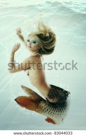 mermaid beautiful magic underwater mythology being original photo compilation - stock photo