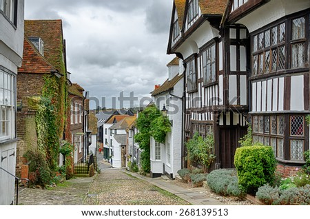 Mermaid Street, in the English town of Rye - stock photo