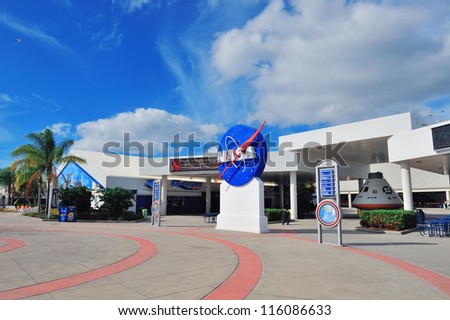 MERRITT ISLAND, FL - FEB 12: Kennedy Space Center visitor center view on February 12, 2012 in Merritt Island, Florida. It is the launch site for every United States human space flight since 1968. - stock photo