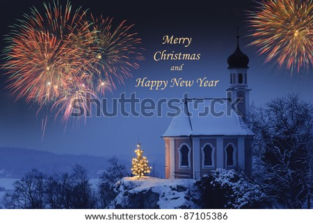 Merry christmas an happy new year card - stock photo