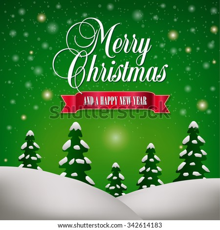 Merry Christmas and a Happy New Year Landscape - stock photo
