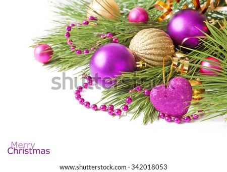 Merry Christmas and Happy New Year. Beautiful balls and new decoration with hew year tree branch isolated on white with sample text - stock photo