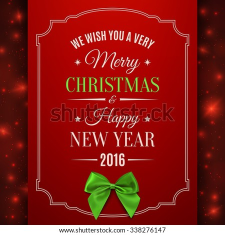 Merry Christmas and Happy New Year. Greeting card template. - stock photo