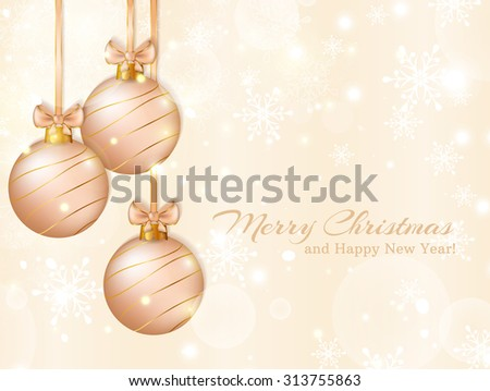 Merry Christmas and Happy New Year! Greeting card with christmas balls. Raster illustration.  - stock photo