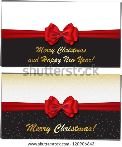 Merry Christmas and Happy New Year luxury greeting cards - stock photo