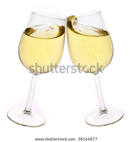 Merry Christmas and happy New year. Pair of champagne flutes making a toast, isolated on white background. - stock photo