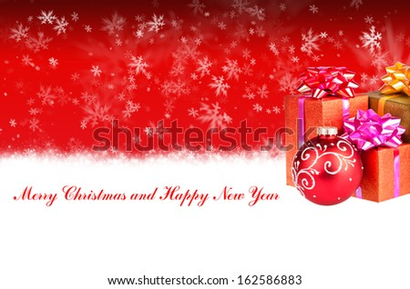 Merry Christmas and Happy New Year red background with Christmas gifts - stock photo
