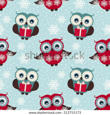 Merry Christmas and Happy New Year! Seamless pattern with owls, gifts and snowflakes. Winter holidays theme. Raster background. - stock photo