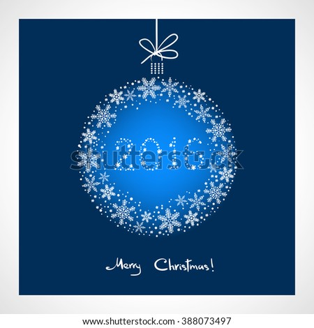 Merry Christmas and Happy New Year 2016. stylized blue ball with snowflakes. Season greeting card template - stock photo
