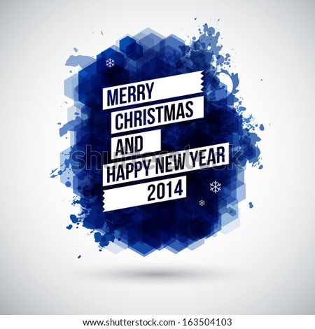 Merry Christmas and Happy New Year typographic headline. Use it for Your winter holidays design.  - stock photo