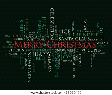 merry christmas and other holiday words - stock photo