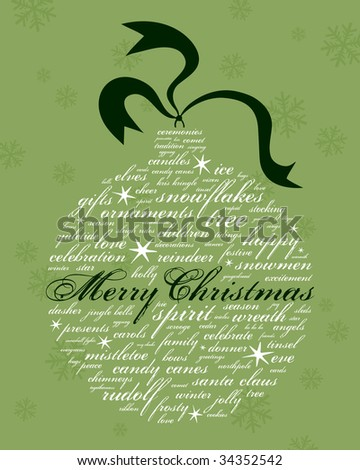 merry christmas and other holiday words in the shape of an ornament - stock photo