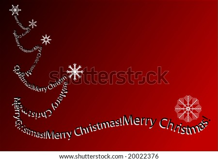 merry christmas and other words in red that make abstract trees - stock photo