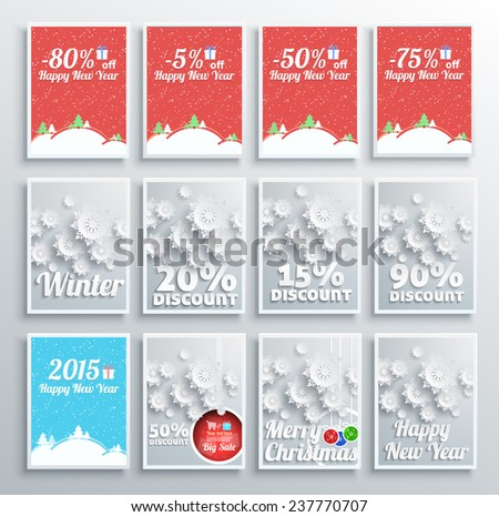 Merry Christmas background set discount percent with snowflake and poster with text. Winter Christmas sale design elements. Raster version - stock photo