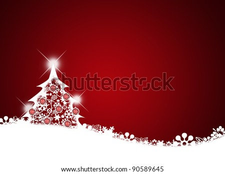 Merry christmas background with Christmas tree. - stock photo