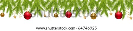 Merry Christmas Banner With New Year's Spheres, Stars, Streamer And Holly Berry, Isolated On White Background, Vector Illustration - stock photo
